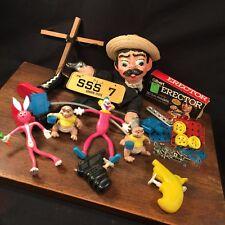 Vtg Toy Junk Drawer Lot Squirt Gun s Puppet Bendy s Erector Set PRIORITY MAIL