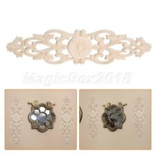 Wood Carving Decal Wall Door Onlay Applique Frame Unpainted 32*8cm Home Decor