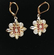 Joan Rivers Two Tone Red Crystals Limited Edition Pave'Cross Leverback Earrings