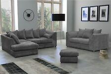 New Skandar Fabric Jumbo Cord Grey Corner sofa and 3+2 seater+Swivel Chair sofa