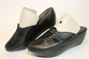 Robert Clergerie Paris France Made Womens 5.5 B Black Leather Mules Wedges Shoes