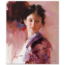 "Pino Giclee Canvas S/# ""Alice"" Dark hair beautiful lady colorful dress coa 20x16"