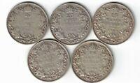 5 X CANADA TWENTY FIVE CENTS QUARTERS KING GEORGE V 800 SILVER COINS 1932 - 1936