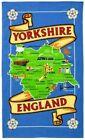 Yorkshire Map Tea Towel Souvenir Gift County Whitby Abbey Dales York White Rose