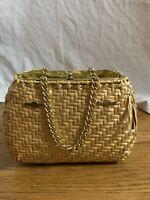 Vintage Magid Rattan wicker Basket Weave Small Clutch Bag Purse