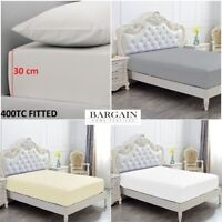 400TC EXTRA DEEP 30CM FITTED SHEET 100% EGYPTIAN COTTON DOUBLE SUPER KING SIZE