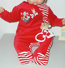 Little Me ~ NWT ~ Baby Christmas Velour Playwear w Reindeer Rattle Toy! Size 6 m