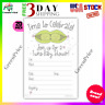10 Pack Peas in a Pod Twins Baby Shower Invitations with Envelopes Girl Boy Lot