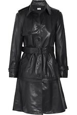 ALBERTA FERRETTI IT42 UK10 US6 BLACK LAMB LEATHER TRENCH COAT JACKET