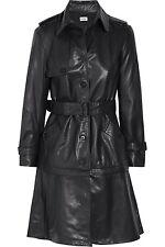 ALBERTA FERRETTI IT42 UK10 US6 BLACK LAMB LEATHER TRENCH COAT JACKET