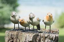 Set of 4 Small British Robin Bird Resin Home Garden Ornaments Figurine Sculpture