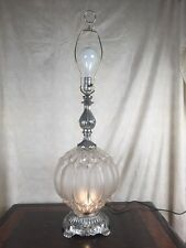 Vintage EF EF SILVER Clear RETRO Bubble Glass Table Lamp 3 Way NIGHTLIGHT UNIQUE