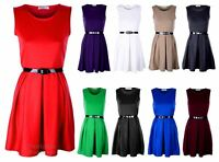 New Ladies Sleeveless Tailored Belted Skater Top Pleated Party Womens Dress
