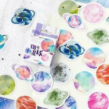 45Pcs Stationery Sticker DIY Planet Sticky Paper Moon Plants BEST P7W9