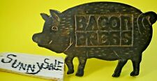Pig Bacon Press Cast Iron Rare Wooden Handle Vintage Metal TAIWAN