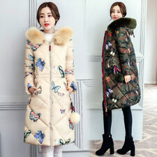 Winter Women's long Down Cotton Parka Fur Collar Hooded Coat Quilted Jacket 3XL