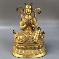 """6"""" China old Antique bronze gilt handmade Nezha Nalakuvara Buddha statue"""