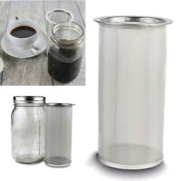 Cold Brew Coffee Maker Iced Tea Infuser Stainless Steel Filter Mason Jar 1 Quart