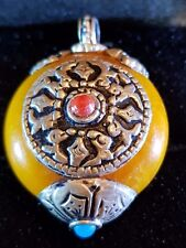 Tibetan  RED CORAL AND AMBER SILVER ROND SHAPED PENDANT