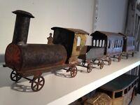 Vintage Fallows (Philadelphia) Floor Train Set. Tin & Cast Iron, Circa 1883
