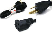 2ft 16 AWG short Power Extension Cord Cable 13A 125V Nema 5-15r 3 prong Black