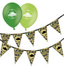 army green camouflage birthday bunting & assorted green mix balloons pack of 5