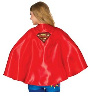 Women's Short Red Super Girl Cape DC Comics Super Hero Adult Costume Accesssory