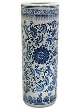 Real Porcelain Umbrella Stand White Blue Floral Design Ceramic Cane Holder