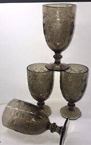 (4) Princess House Fantasia Iced Tea Goblets 7-inch Mocha Brown 16 ounce MINT