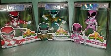 "Power Rangers 3 Die Cast Metals Mighty Morphin Green, Red, Pink 4"" Figures LOT"