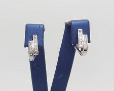 Zales 1/3CT Diamond Huggie Hoops  Earrings 14K White Gold Omega Back