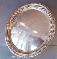 Sterling Silver Drinks Tray 1900 Gadrooned Round Antique English Sheffield