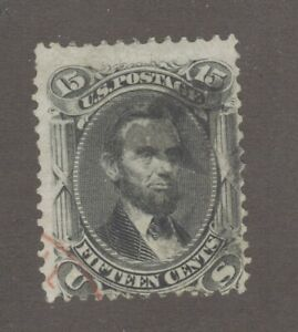 Scott 77 Early US Stamp 15c Lincoln ...1861-62.  Red Cancel