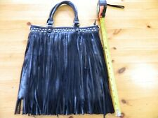 """Black LEATHER FRINGE LARGE HAND BAG PURSE 14""""x17"""" New without tags. NICE!"""