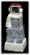 "LED Lighted Acrylic Ice Cube Snowman Water Globe Christmas Holiday Decor 9"" NEW"