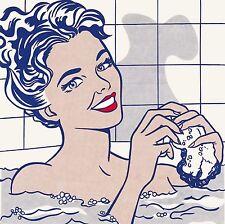 Roy Lichtenstein pop art woman in bath CANVAS Print 50cm x 50cm
