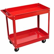 Heavy Duty Mechanic Handyman Trolley 2 Tier Tray Wheel Cart Warehouse Industrial