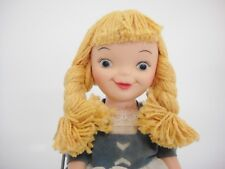 "Vintage Soft Plastic Dutch Girl Doll Long Blonde Braids Blue Dress Clogs 8.5"""