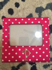 """Monogram Picture Frame Letter P Pink White Polka Dots Green """"P"""" 4 X 6 Good Cond"""
