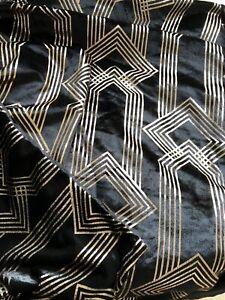 ART DECO BLACK VELVET KING SIZE DUVET SET
