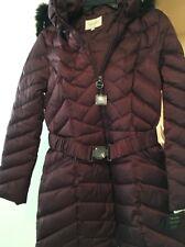 Laundry by Shelli Segal Black Faux-Fur-Hooded Plum Purple Down Puffer Coat M