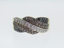 Genuine Black/Champagne/White Diamonds BAND Solid 14K Yellow Gold Ring