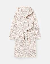 Joules Womens Rita Fluffy Dressing Gown - Cream Grey Leopard