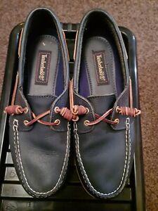 Timberland Shoes Size 9 Blue Leather Men's Lace Up Deck Shoes EU 43