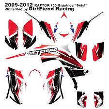 "Raptor 700 Graphics 09-12 DFR ""Twist"" White Red Full Wrap Raptor700 ATV"