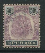 Malaya Perak QV 1895 50 cents Tiger lilac & black used