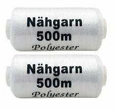 2x Nähgarn Polyester weiß 500m, Nähfaden, Nähmaschinengarn, Syngarn
