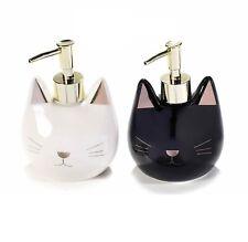 Distributeur de savon forme tête de chat noir ou blanc finitions dorée