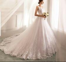 UK White/ivory/ Champagne Lace Sleeveless Wedding Dress Bridal Gown Sizes 6-22