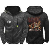 Men's ACDC Hoodie Sports Fleece Hooded Sweatshirt Autumn Band Jacket Zip Up Coat